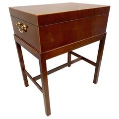 Baker Furniture Mahogany Inlay Box on Stand Table