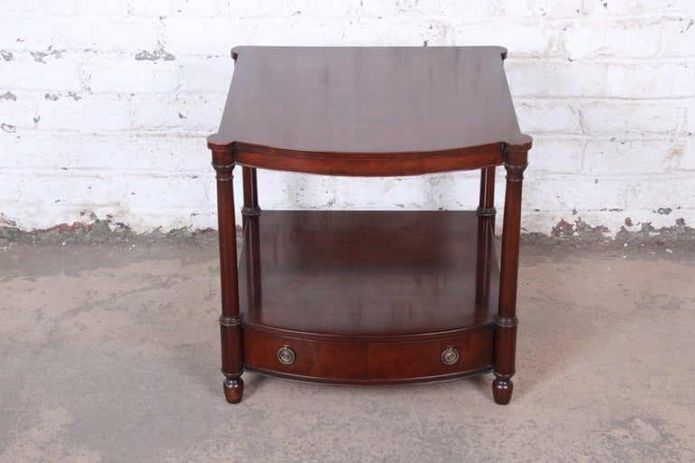 British Colonial Baker Furniture Mahogany Occasional Table or Nightstand, circa 1950s For Sale