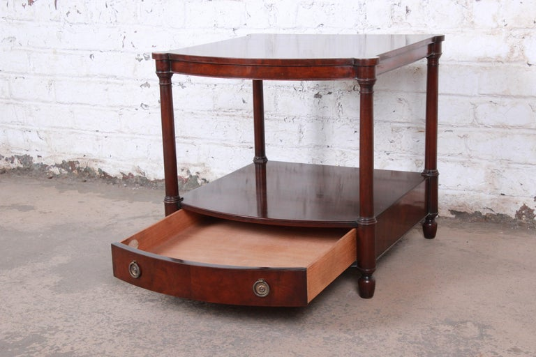 Brass Baker Furniture Mahogany Occasional Table or Nightstand, circa 1950s For Sale