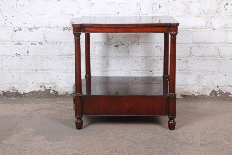 Baker Furniture Mahogany Occasional Table or Nightstand, circa 1950s For Sale 1