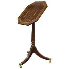 Baker Furniture Mahogany Rosewood Inlaid Tilt-Top Book Stand Lectern Side Table