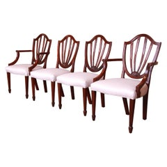 Baker Furniture Mahogany Shield Back Dining Chairs, Set of Four
