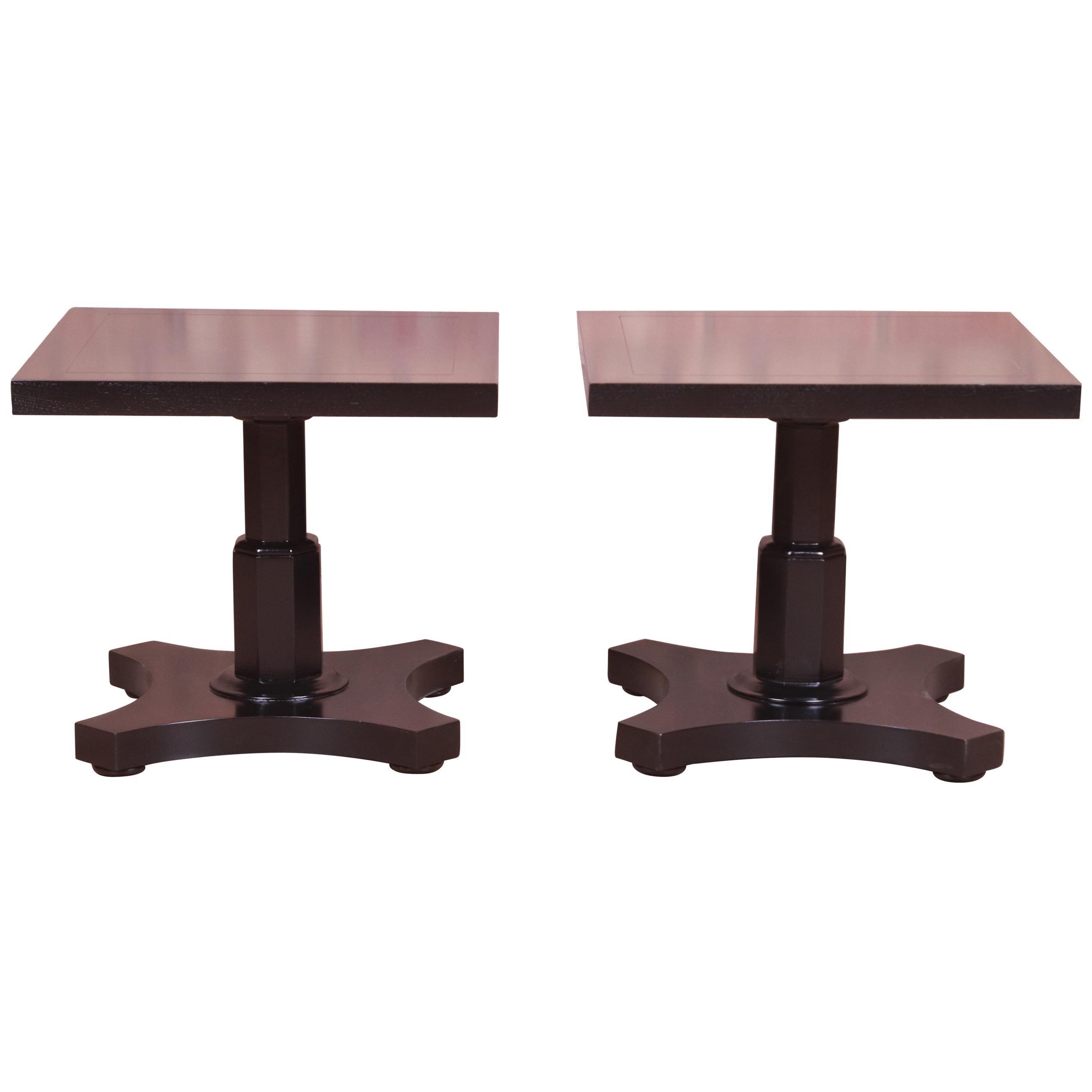 Baker Furniture Midcentury Black Lacquered Pedestal Side Tables, Refinished