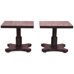 Baker Furniture Midcentury Black Lacquered Pedestal Side Tables, Refinished