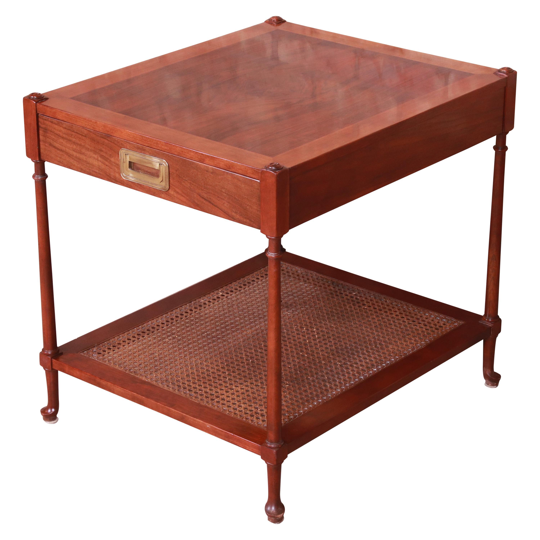 Baker Furniture Mid-Century Hollywood Regency Burled Walnut and Cane Tea Table