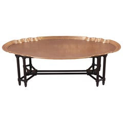 Baker Furniture Midcentury Hollywood Regency Etched Brass Cocktail Table