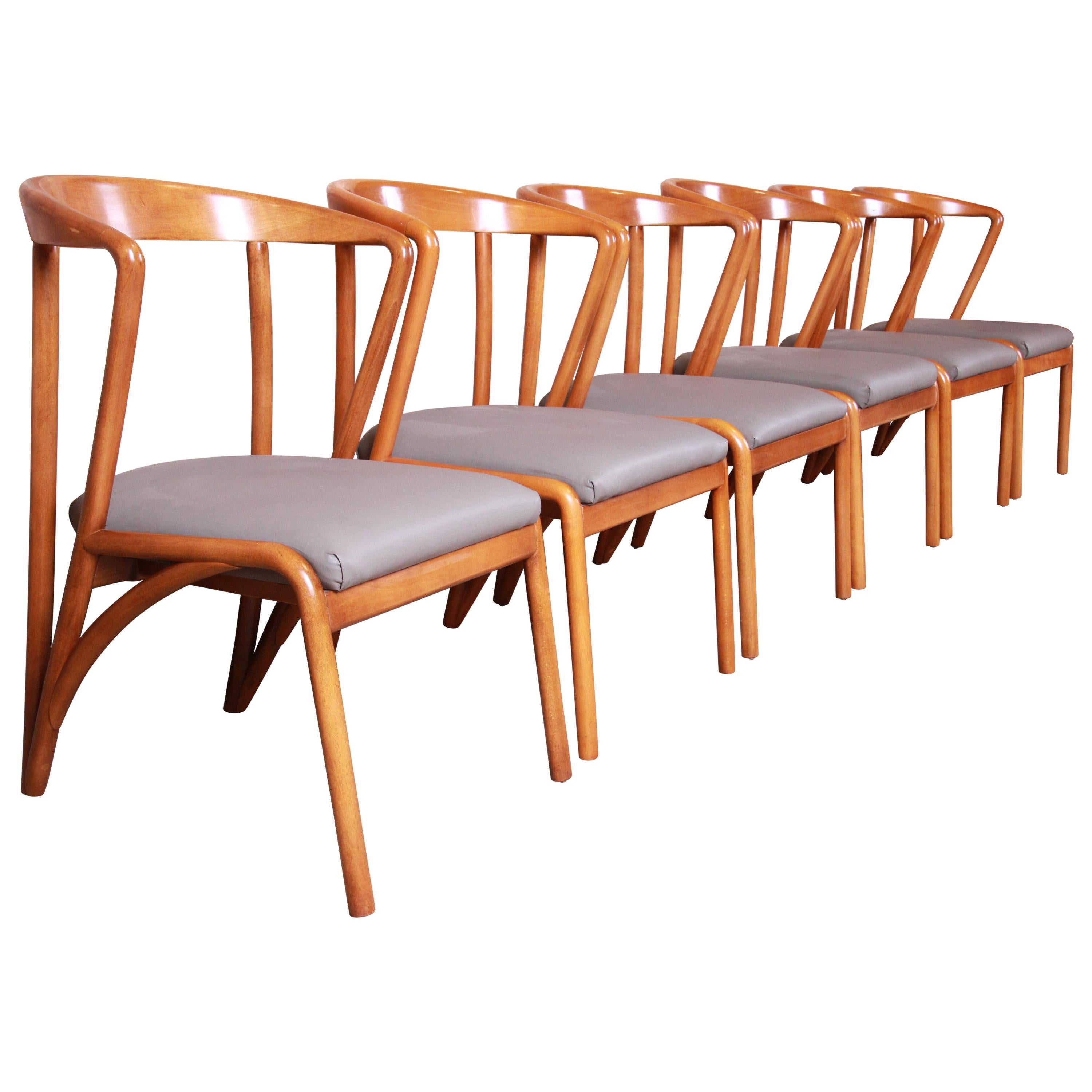 Baker Furniture Mid-Century Modern Sculpted Maple Dining Chairs, Set of Six