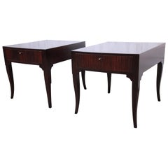 Baker Furniture Midcentury Regency Dark Mahogany Nightstands, Newly Restored