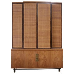 Baker Furniture Midcentury Woven Front Wall Unit