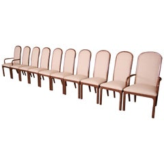 Baker Furniture Midcentury Bronze Finish Arched Back Dining Chairs, Set of Ten
