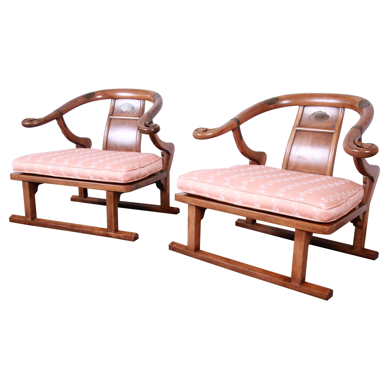 Baker Furniture Midcentury Chinoiserie Walnut Yoke Back Low Lounge Chairs, Pair