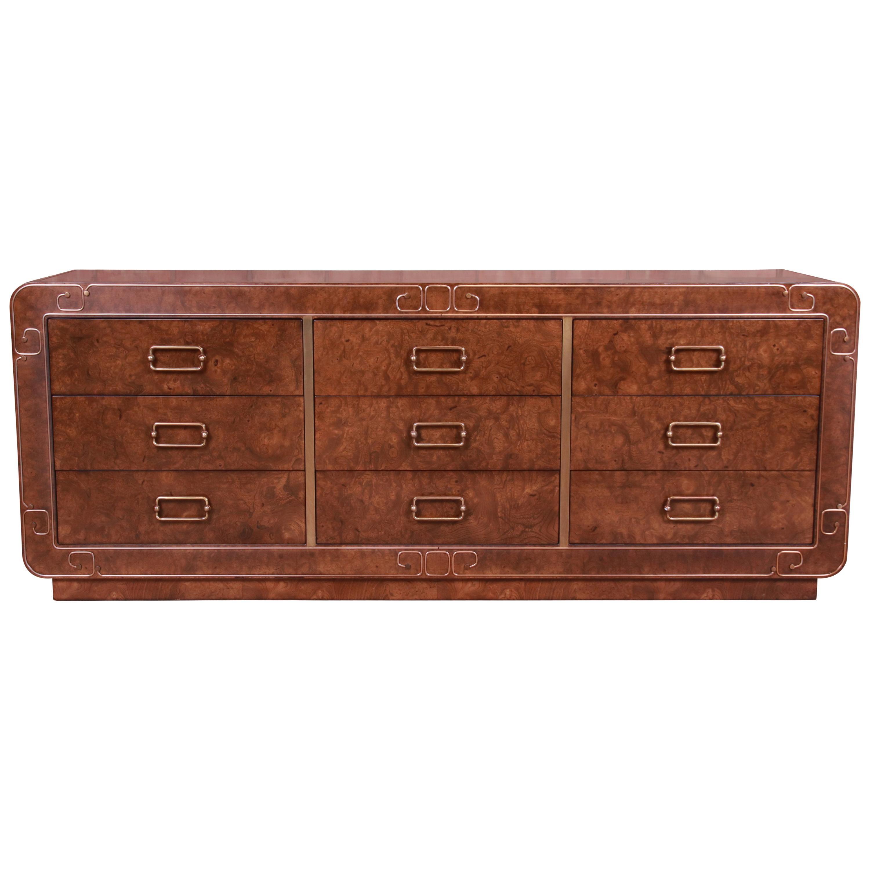 Baker Furniture Midcentury Hollywood Regency Burl Wood and Brass Triple Dresser