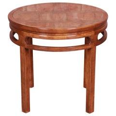 Baker Furniture Midcentury Hollywood Regency Burled Walnut Tea Table