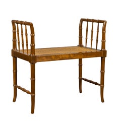 Baker Furniture Midcentury Vintage Faux Bamboo Walnut Bench with Cane Seat
