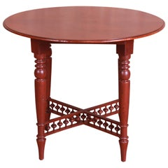 Baker Furniture Milling Road American Colonial Carved Mahogany Tea Table