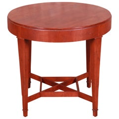 Baker Furniture Milling Road Carved Cherrywood Tea Table or Occasional Table