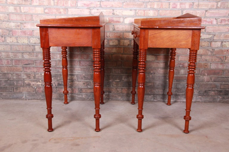 Baker Furniture Milling Road Carved Mahogany Nightstands, Pair 6