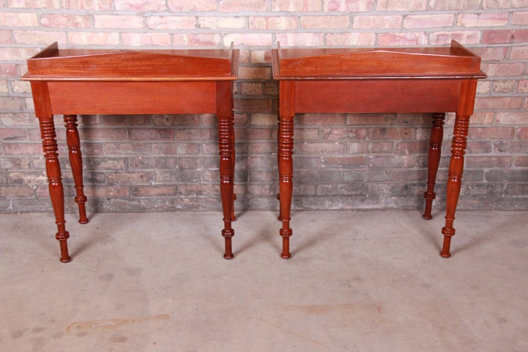 Baker Furniture Milling Road Carved Mahogany Nightstands, Pair 7