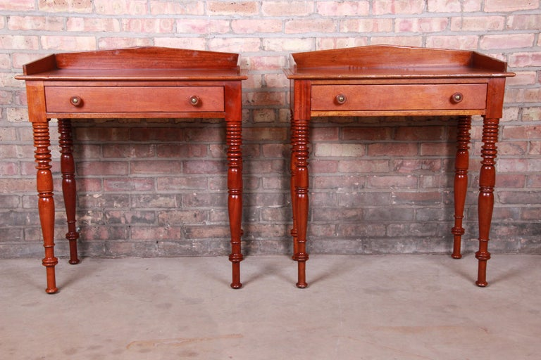 American Colonial Baker Furniture Milling Road Carved Mahogany Nightstands, Pair