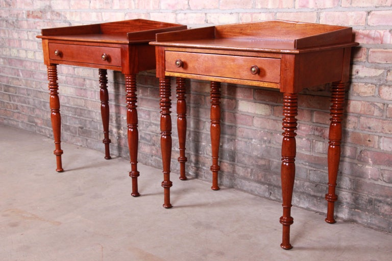 American Baker Furniture Milling Road Carved Mahogany Nightstands, Pair
