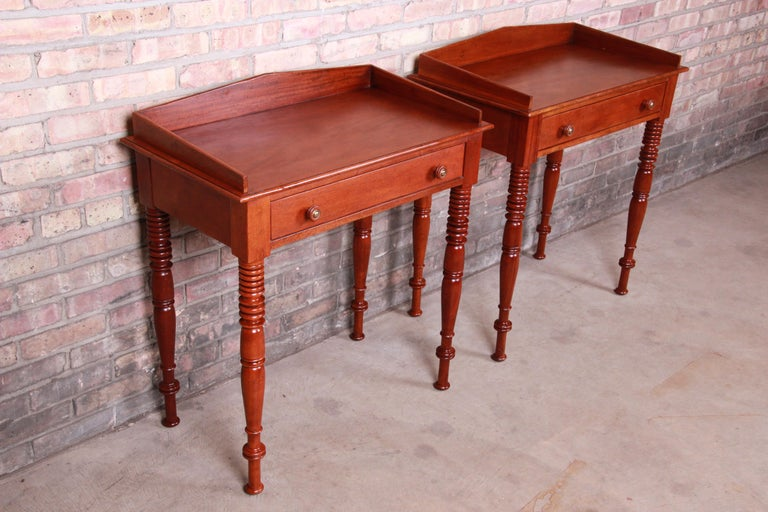 Baker Furniture Milling Road Carved Mahogany Nightstands, Pair In Good Condition In South Bend, IN