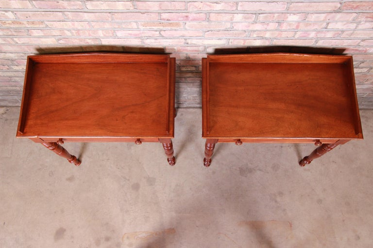 Late 20th Century Baker Furniture Milling Road Carved Mahogany Nightstands, Pair