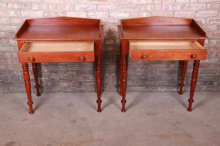 Brass Baker Furniture Milling Road Carved Mahogany Nightstands, Pair