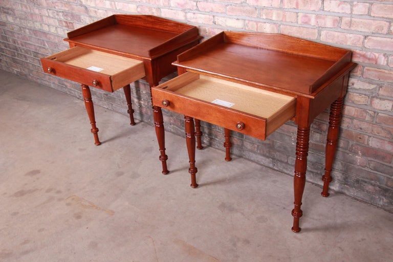 Baker Furniture Milling Road Carved Mahogany Nightstands, Pair 1