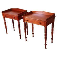 Baker Furniture Milling Road Carved Mahogany Nightstands, Pair
