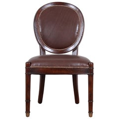 Baker Furniture Milling Road Collection Studded Leather Balloon Back Side Chair