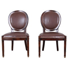 Baker Furniture Milling Road Collection Studded Leather Balloon Back Side Chairs