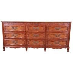 Baker Furniture Milling Road French Provincial Louis XV Cherry Triple Dresser