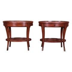 Baker Furniture Milling Road Italian Provincial Oval Walnut Nightstands, Pair