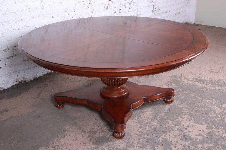 Baker Furniture Milling Road Neoclical Banded Mahogany Pedestal Dining Table