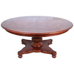 Baker Furniture Milling Road Neoclassical Banded Mahogany Pedestal Dining Table