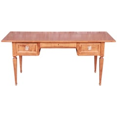 Baker Furniture Milling Road Neoclassical Italian Maple Desk, Newly Refinished