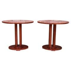 Baker Furniture Modern Art Deco Inlaid Mahogany Pedestal Side Tables, Pair