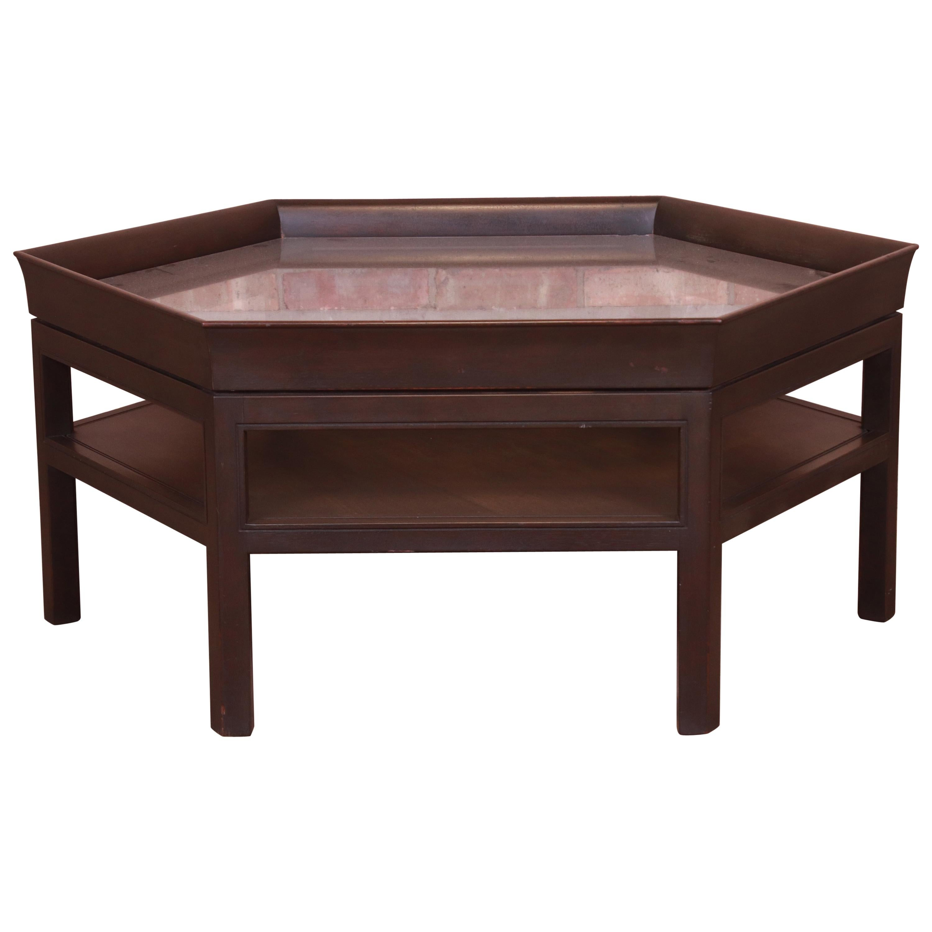 Baker Furniture Modern Hexagonal Two-Tier Mahogany Cocktail Table