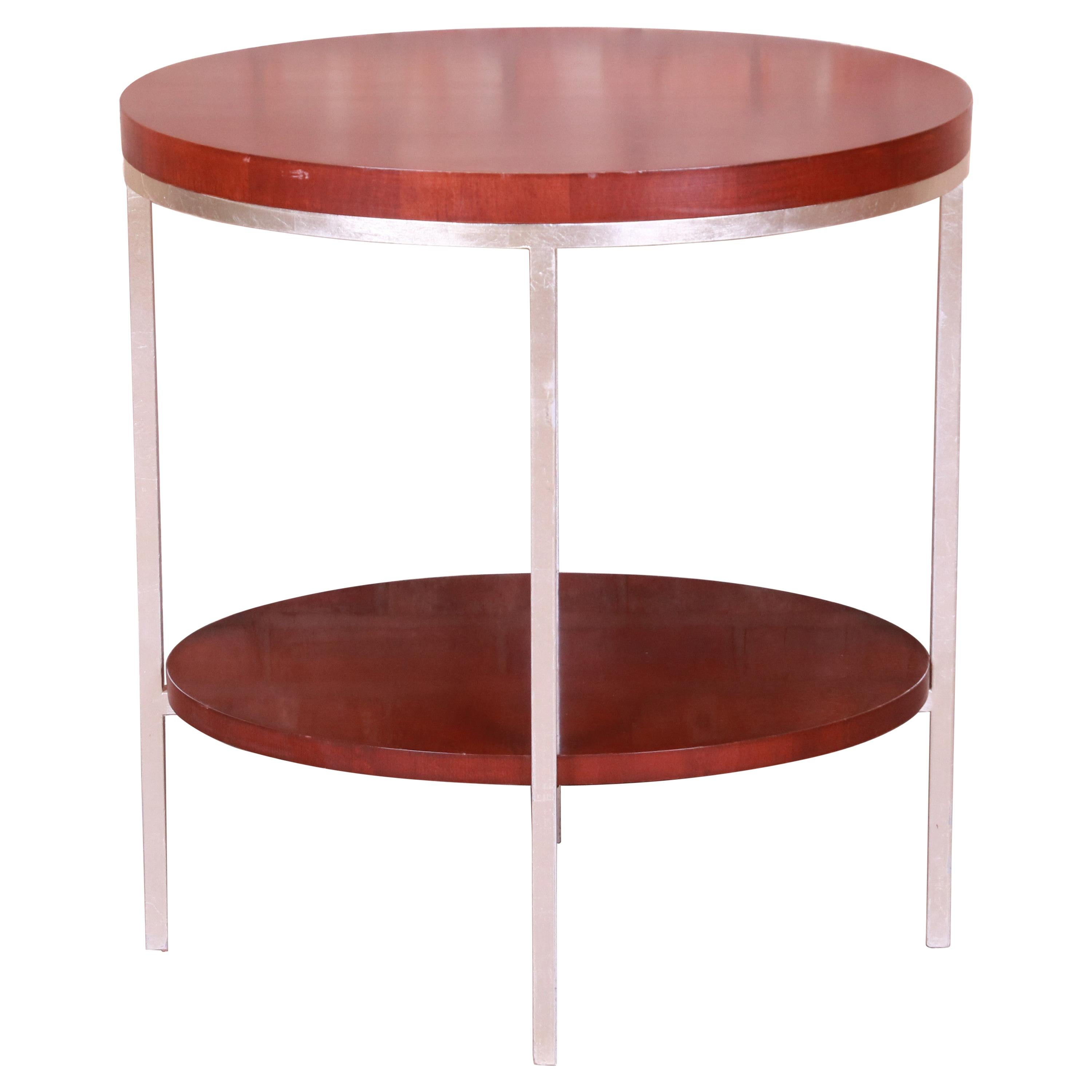 Baker Furniture Modern Mahogany and Steel Two-Tier Side Table