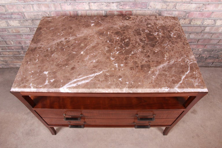 Baker Furniture Modern Mahogany Marble-Top Buffet Server For Sale 9