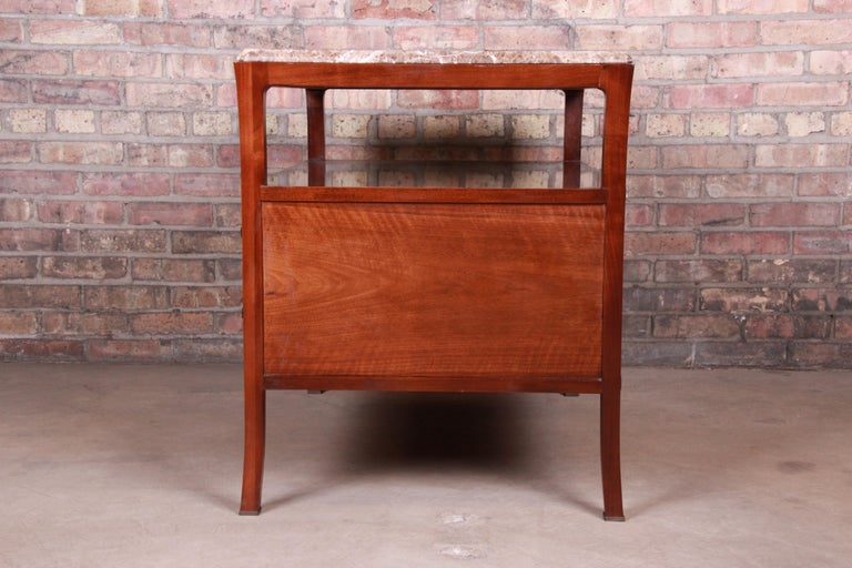 Baker Furniture Modern Mahogany Marble-Top Buffet Server For Sale 12
