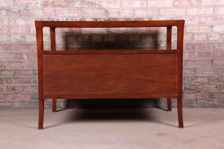 Baker Furniture Modern Mahogany Marble-Top Buffet Server For Sale 13