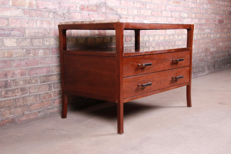 American Baker Furniture Modern Mahogany Marble-Top Buffet Server For Sale