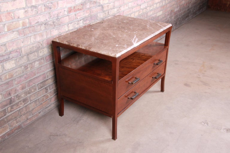 Baker Furniture Modern Mahogany Marble-Top Buffet Server In Good Condition For Sale In South Bend, IN