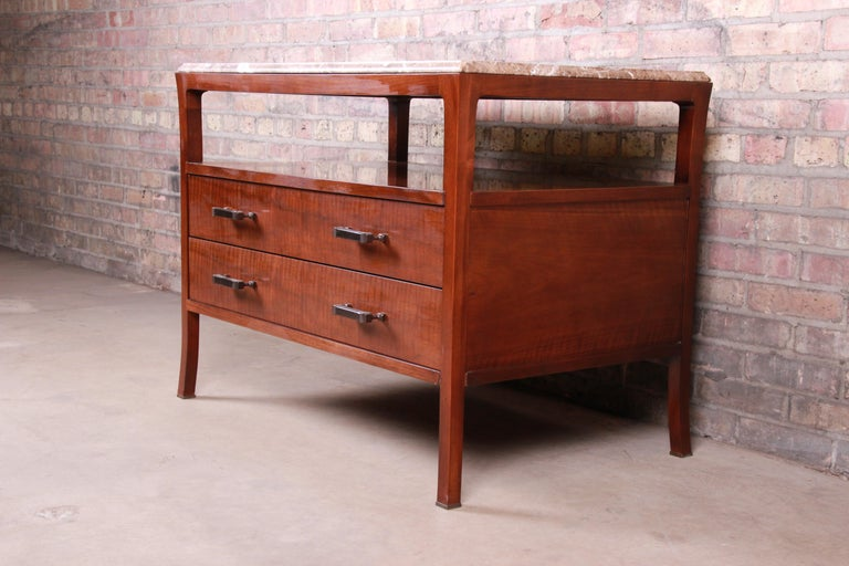 Baker Furniture Modern Mahogany Marble-Top Buffet Server For Sale 1