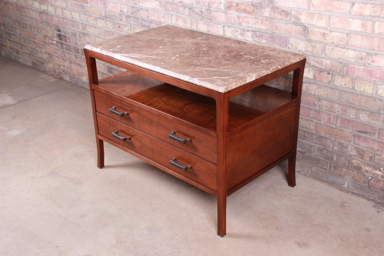 Baker Furniture Modern Mahogany Marble-Top Buffet Server For Sale 2