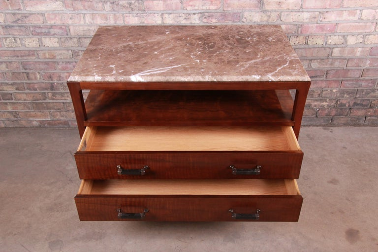 Baker Furniture Modern Mahogany Marble-Top Buffet Server For Sale 3