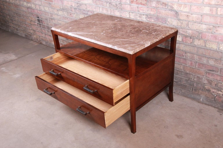 Baker Furniture Modern Mahogany Marble-Top Buffet Server For Sale 4