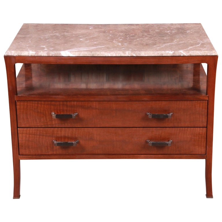 Baker Furniture Modern Mahogany Marble-Top Buffet Server For Sale