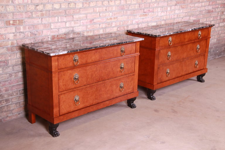 20th Century Baker Furniture Neoclassical Burl Wood Marble-Top Chests, Pair For Sale
